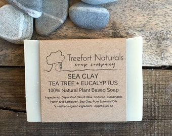Sea Clay with Tea Tree & Eucalyptus Soap - Handmade Cold Process, All Natural, vegan, essential oils