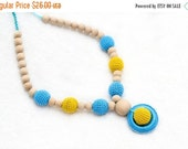 25% off Nursing Breastfeeding necklace yellow, blue, natural woden beads, wooden ring