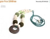 25% off Teething nursing necklace, Babywearing Necklace , chew beads with teething ring and organic cotton