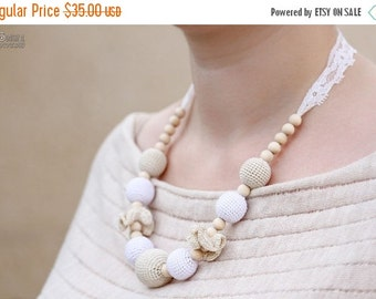 SALE 25% off Nursing mom necklace, Teething necklace, Breastfeeding Necklace with vintage lace - white, beige, natural wooden beads,organic