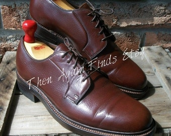 SALE Vintage 1984 DACK'S Brown Pebble grain, Plain Toe Blucher, Men Us 8.5D, Derby Gunboats Goodyear welt Storm welt Leather soles Made in C