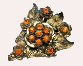 Flower Dress Clip  LN Little Nemo Orange  rhinestone antique gold tone