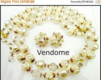 Vendome Necklace  and Earring set with Baroque Pearl and Crystal Beads wedding bride