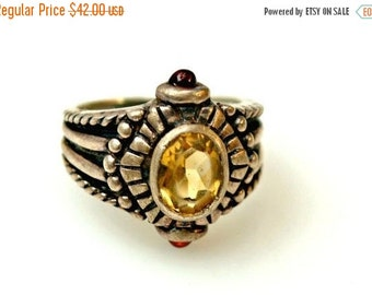 Sterling Ring Yellow Citrine and Garnet Gemstone Ring size 8 1/2