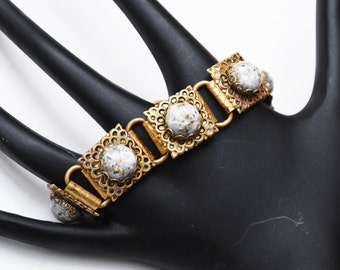 Link bracelet - Victorian Revival Brass book chain - White Cabochon with gold and black confetti