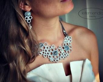 Handmade Crochet Jewelry Fiber Necklace and Earrings Set Lace Bib Labradorite Pearls Silver Letemendia Jewelry