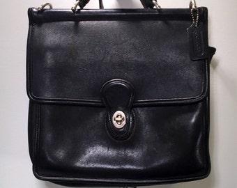 Black Leather Coach Bag Vintage Coach Crossbody Handbag Black Leather Satchel Medium Purse Classic Coach Bag