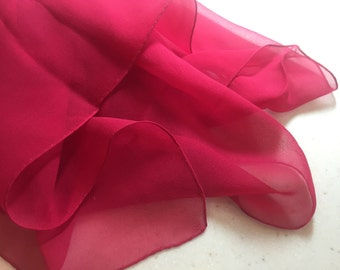 Lovely vintage Scarlet SILK CHIFFON SCARF with a tiny hand rolled hem 16x48 S-303