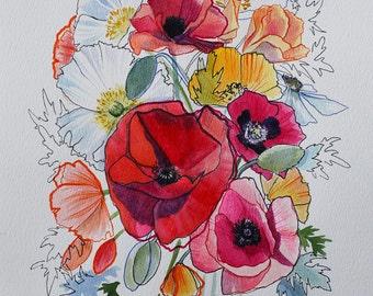 """Poppies V - 8x10"""" Print"""
