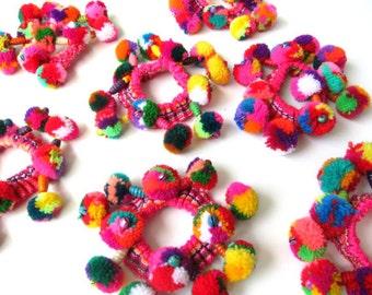 Girls Pom Pom Hair Scrunchies Girls Pom Pom Hair Neon Wool Pom Pom Hair bands Girls Hair Accessories Gifts for Girls Assorted Colors 10+pcs