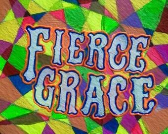 Fierce Grace /  (Technicolor-electric intricate original acrylic painting, 1 foot diameter)