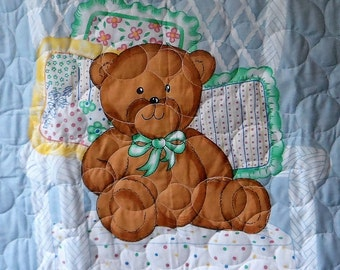 Quilt - Quilted Baby Blanket - Baby Quilt - Gender Neutral Baby Quilt for Boy or Girl - Baby Bear