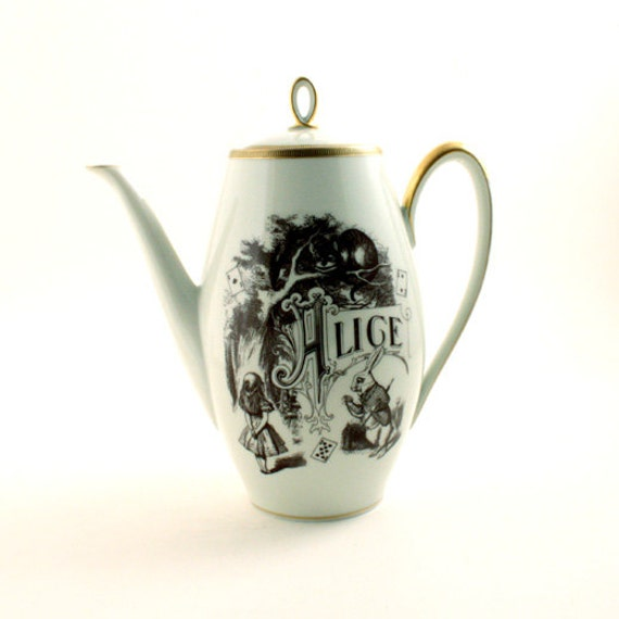 Alice In Wonderland Altered Teapot Coffee Pot Unique Vintage