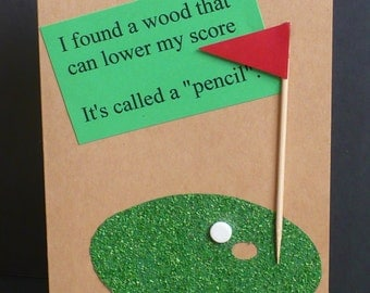 """Golfer's Greeting Card ... Original Creation on A7 Core'dinations Quality Card Stock ... """"How To Lower Your Golf Score"""". . Matching Envelope"""