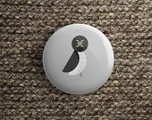 pinback / magnet / mirror button with grey owl gift