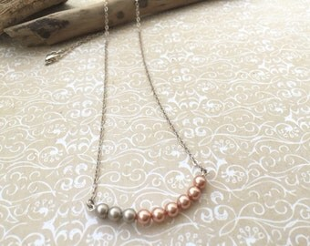 beaded bar necklace, choker, dainty sterling silver chain, beaded necklace, rose pink gray pearl layering choker necklace, swarovski
