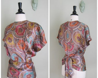 Vintage 1930's/40's Silky Medallion Blouse