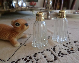 Vintage Glass and Metal Top Individual Salt & Pepper Shakers