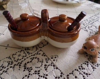 Vintage Brown Drip Pottery-Condiment Jars with Spoons/Handle-Serving/Mayonaise/Mustard/Relish/Ketchup