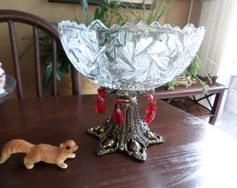 Gorgeous Antique Cut Glass EAPG Compote with Metal Footed Base and Red Crystals
