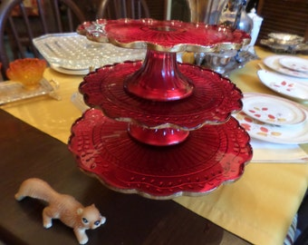 """One Gorgeous LE Smith-EAPG-Goofus Glass-Red & Gold-9 3/4"""" Round Cake Plate with Pedestal-Valentine Serving"""