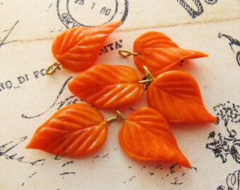 Long Opaque Orange Glass Leaves Bead or Leaf Charm with Brass Ring Loop 24mm - 6