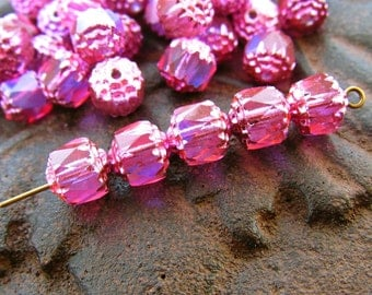 8mm Iridescent AB Hot Pink Cathedral Czech Glass Fire Polished Beads - 20