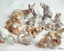 Antique German Putz Animals - Vintage Tiny Porcelain Critters - Farm & Jungle - Small China Ceramic Under the Christmas Tree Menagerie