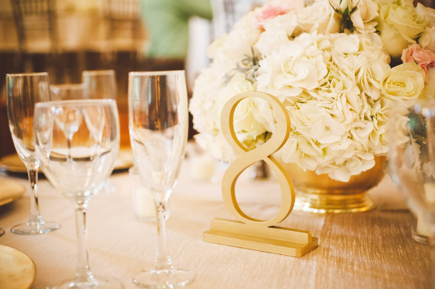 1-14 True Gold Wooden Wedding Table Numbers Gold Table