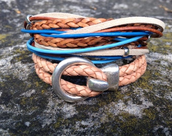 Stackable Leather Bracelets Bohemian Stacking Bracelet Leather Wrap Stackable Bracelet Leather Cuff Boho Bracelet Blue Leather and Silver