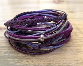 Leather Wrap Bracelet Boho Wrap Bracelet Beach Wear Surf Wear Cuff Bracelet Hipster Hippie Bracelet Purple Leather Bracelet Gift under 100