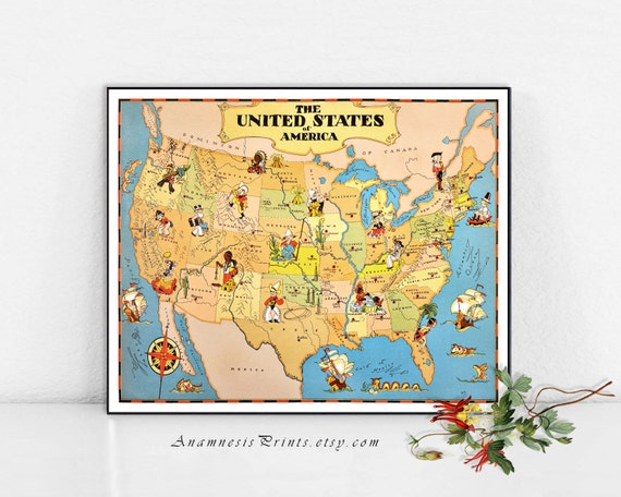 UNITED STATES Map Print Vintage USA Picture Map To Frame - Us map picture frame