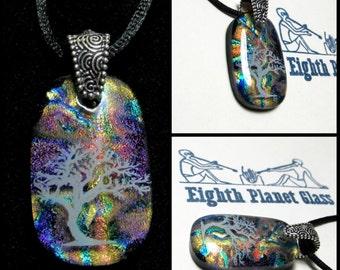 Rainbow Bonsai Tree  - Dichroic Glass Necklace Pendant