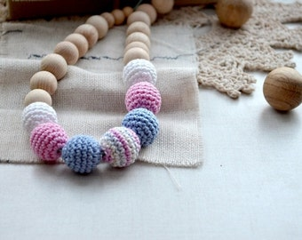 Neutral Nursing necklace,Breastfeeding necklace,Safe Mama necklace,Crochet Necklace,Eco Teething necklace, Baby shower gift,Gift for mom