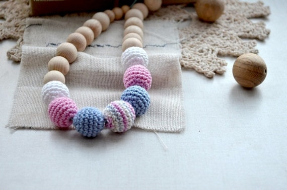 Nursing necklace Breastfeeding necklace Neutral color Safe Mama Crochet Necklace Ecofriendly Teething necklace Pink blue white
