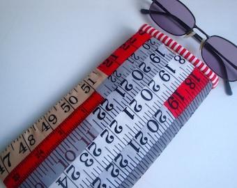 Cotton Glasses case  - handmade - unique- women- girls - gift - eyeglasses case - tape measure glasses case