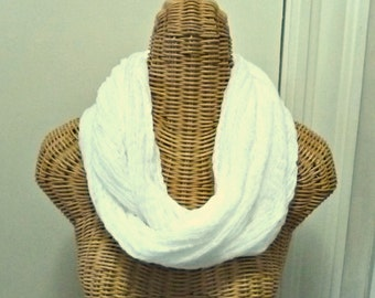 Infinity Spa Scarf Cowl White Ready To Ship Beach Womens Cotton