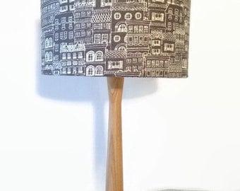 Kokka grey fabric lampshade and ash table lamp
