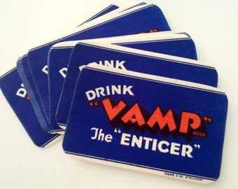 3 pcs. VAMP SODA LABELS - 1930s Vamp The Enticer Beverage Labels, Vintage Bottle Label, Vampire Potion Halloween Prop, Unused Mint Ephemera