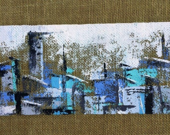 Large Cityscape FABULOUS Mid Century Modern Painting on Burlap Custom Framed EXCELLENT