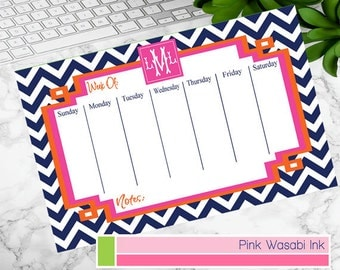 Monogrammed Weekly Calendar Personalized Desk Calendar Meal Planner Custom Chore Chart Choose Colors