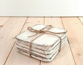 Shabby chic wood coasters, set of 4, rustic white coasters, rustic wedding, home decor, decorative coasters