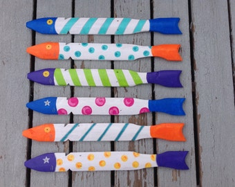 Set of Six Picket Fish painted on Salvaged Picket Fence