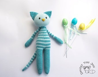 Naptime Turquoise Tabby Cat. PDF knitting pattern. Knitted in the round. Toy for small babies. Nursery Decoration. Gift for newborn