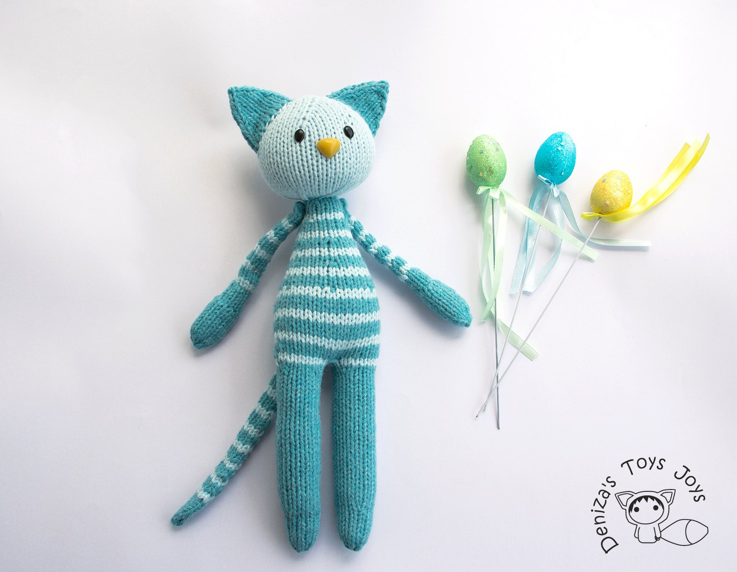 Knitting Toys In The Round : Naptime turquoise tabby cat pdf knitting pattern knitted