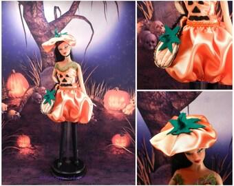 Halloween costume for barbie doll shaped pumpkin