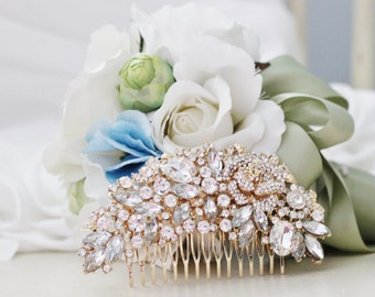 Gold-Pronged Rhinestone Bridal Comb Hair Piece