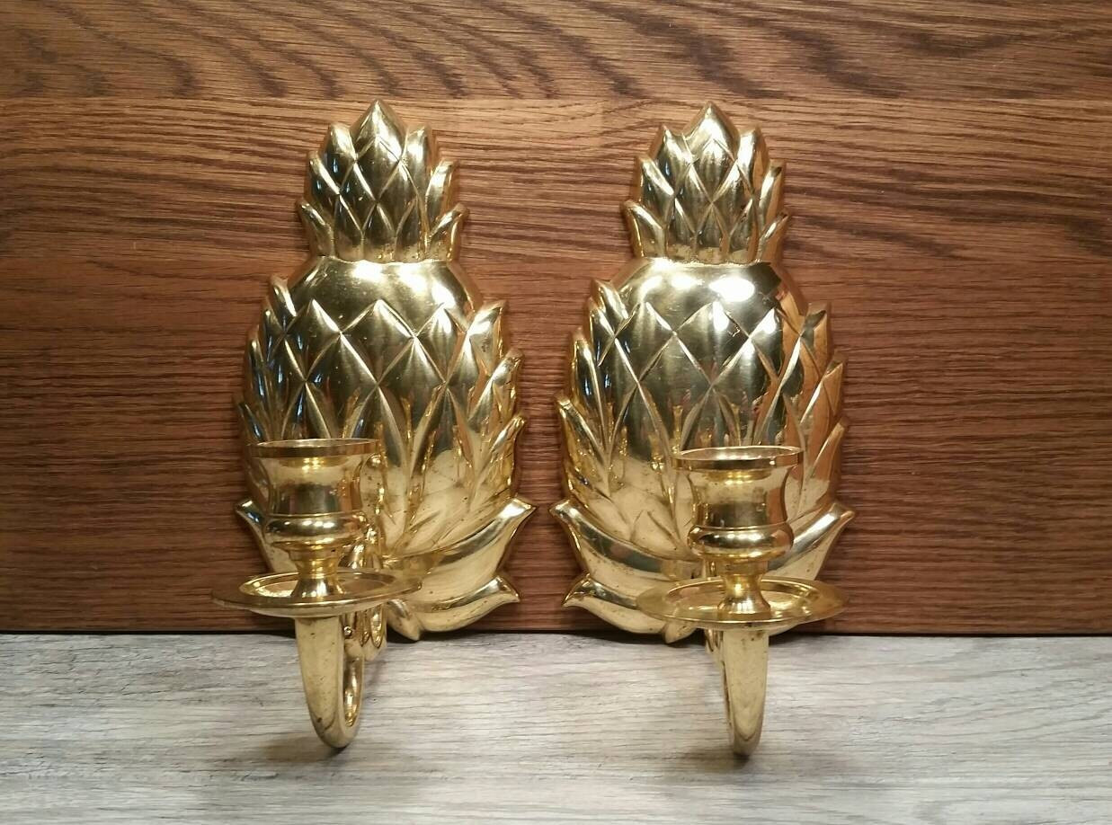 Large Brass Pineapple Wall Sconces