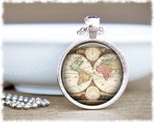 Vintage Map Necklace • World Map Necklace • Map Jewelry • Travel Gift • Wanderlust