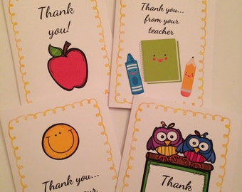 Teacher blank cards, teacher note cards, teacher cards, teacher note, thank you card set, teacher card set, school note card